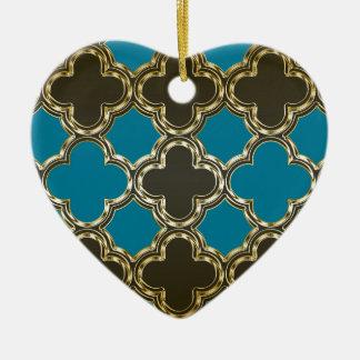 Moroccan Quatrefoil Metallic Gold Blue Design Ceramic Heart Decoration