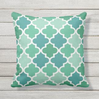 Moroccan Quatrefoil Pattern | Emerald Green Outdoor Cushion