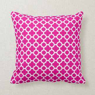 Moroccan Quatrefoil Pattern Hot Pink Cushion