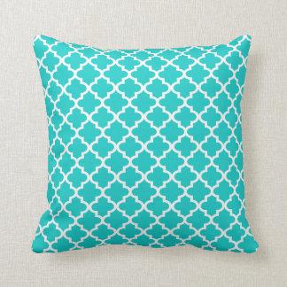 Moroccan Quatrefoil Pattern Pillow   Turquoise Cushions