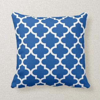 Moroccan Quatrefoil Pattern   Royal Blue Throw Pillow