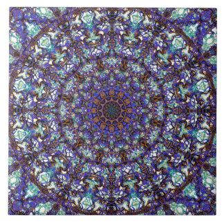 Moroccan romantic colored mandala pattern large square tile