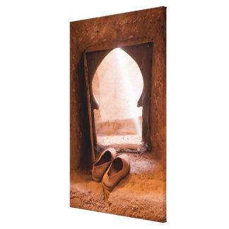 Moroccan Shoes At Window Canvas Print