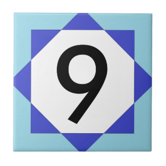 Moroccan Star Blue House Number Ceramic Tile