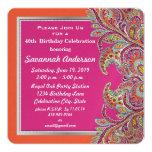 Moroccan Tangerine & Fuchsia 40th Birthday Party 13 Cm X 13 Cm Square Invitation Card
