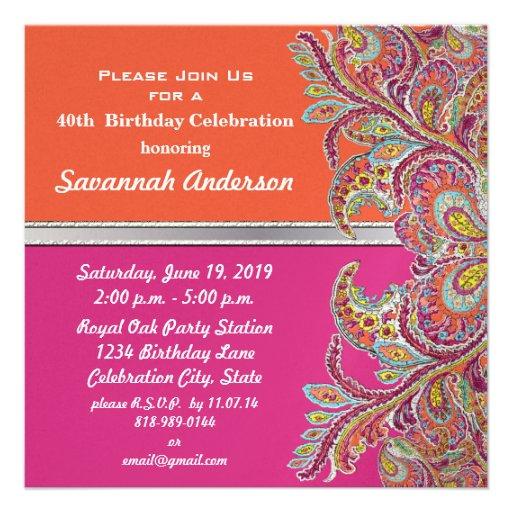 Moroccan Tangerine & Fuchsia 40th Birthday Party Invitations