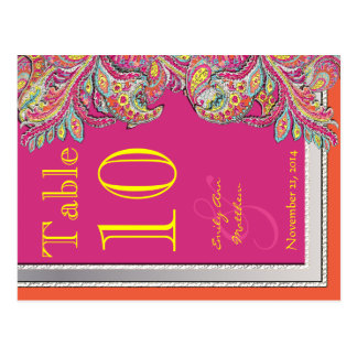 Moroccan Tangerine & Fuchsia Wedding Table Number Postcard
