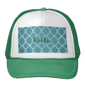 Moroccan teal pattern w/monogram customize chic trucker hat