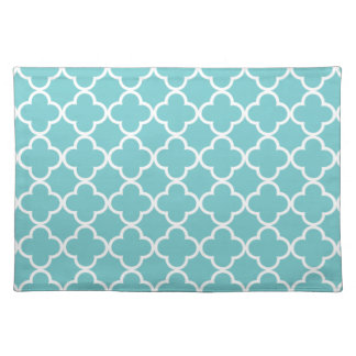 Moroccan Teal White Quatrefoil Pattern Placemats