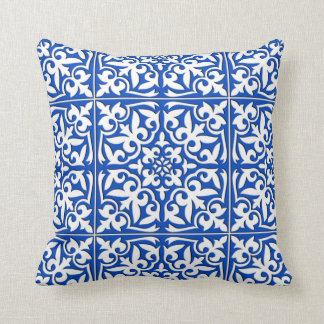 Moroccan tile - cobalt blue and white pillow