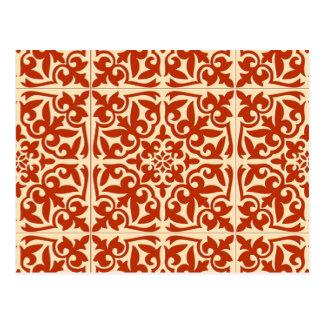 Moroccan tile - coral orange and peach postcard