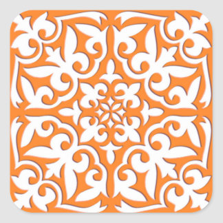 Moroccan tile - coral orange and white square sticker