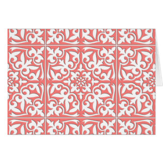 Moroccan tile - coral pink and white card