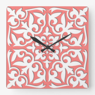 Moroccan tile - coral pink and white square wall clock