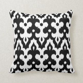 Moroccan Tile Damask Pattern, Black and White Cushion