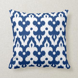 Moroccan Tile Damask Pattern, Cobalt Blue & White Cushion