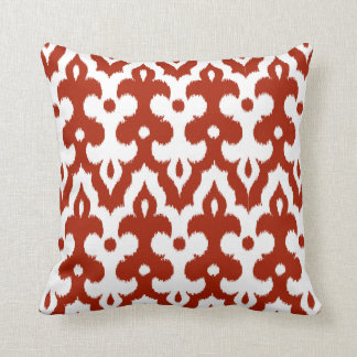 Moroccan Tile Damask Pattern, Deep Red and White Cushion