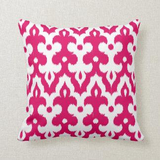 Moroccan Tile Damask Pattern, Fuchsia Pink & White Cushion