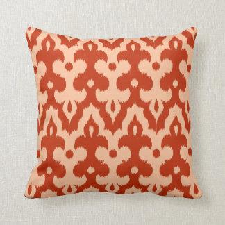 Moroccan Tile Damask Pattern, Mandarin Orange Cushion