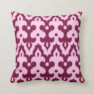Moroccan Tile Damask Pattern, Pink and Burgundy Cushion