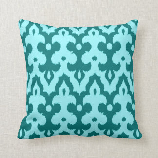 Moroccan Tile Damask Pattern, Turquoise and Aqua Cushion