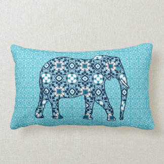 Moroccan Tile Elephant, Cobalt, Navy & Light Blue Lumbar Cushion