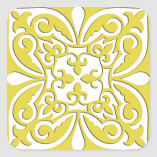 Moroccan tile - mustard yellow and white square sticker
