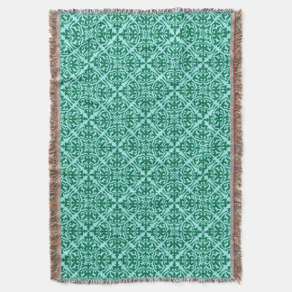 Moroccan Tile Pattern, Aqua and Turquoise Throw Blanket