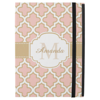 "Moroccan Tile Pattern Classy Pink Coral Monogram iPad Pro 12.9"" Case"
