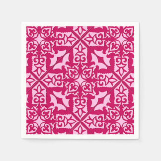 Moroccan Tile Pattern, Fuchsia and Pastel Pink Paper Serviettes