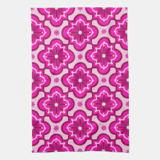 Moroccan tile pattern - Fuchsia Pink Tea Towel