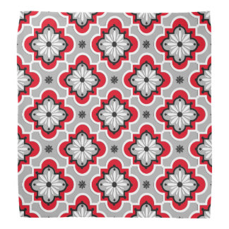 Moroccan tile pattern - Grey and Red Bandana