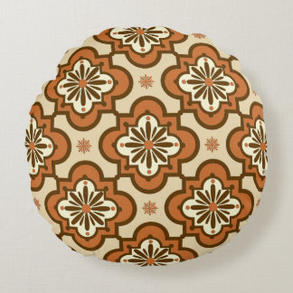 Moroccan tile pattern - Rust and Tan Round Cushion