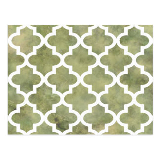 Moroccan Tile Trellis Patterm on Moss Green Marble Postcard