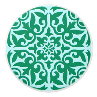 Moroccan tile - turquoise and aqua ceramic knob