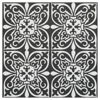 Moroccan tile - white with black background fabric