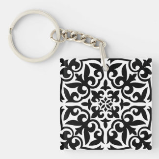 Moroccan tile - white with black background key ring