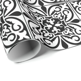 Moroccan tile - white with black background wrapping paper