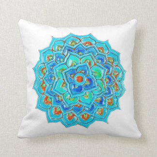 Moroccan Tile with Mandela design in watercolor. Cushion