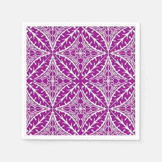 Moroccan tiles - amethyst purple and white disposable serviette