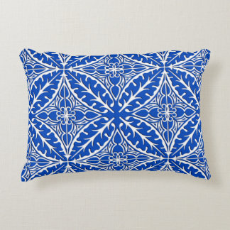 Moroccan tiles - cobalt blue and white accent cushion
