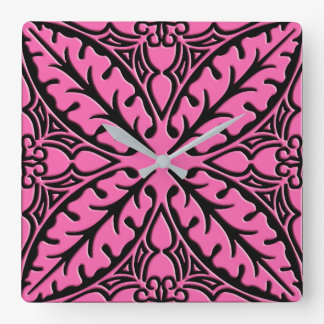 Moroccan tiles - fuchsia pink and black square wall clock