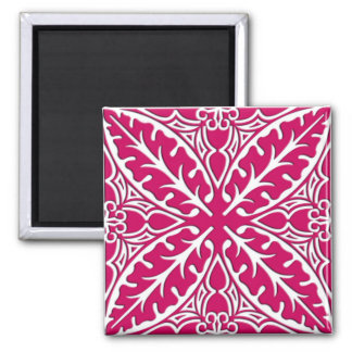 Moroccan tiles - magenta and white square magnet
