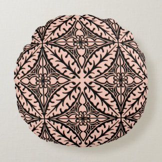 Moroccan tiles - peach pink and black round cushion