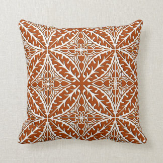 Moroccan tiles - rust brown and white cushion