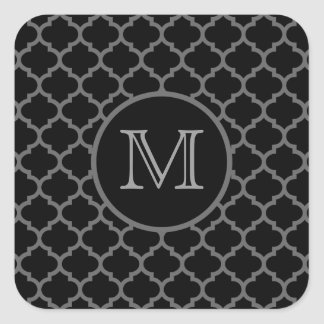 Moroccan Trellis Black Square Sticker