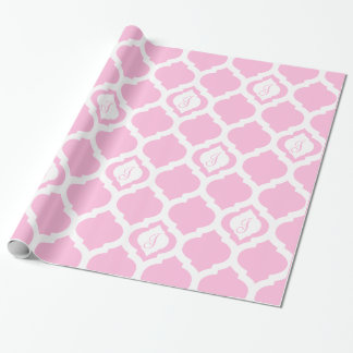 Moroccan trellis pink and white monogram wrap wrapping paper