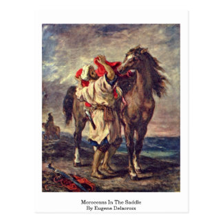 Moroccans In The Saddle By Eugene Delacroix Postcard