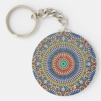 morocco arab mosaic islam religious pattern basic round button key ring