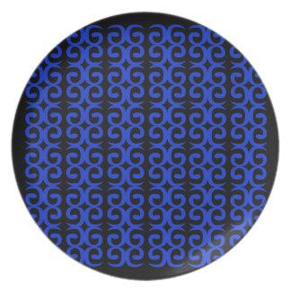MOROCCO BLUE BLACK Fashion handdrawn Art Plate